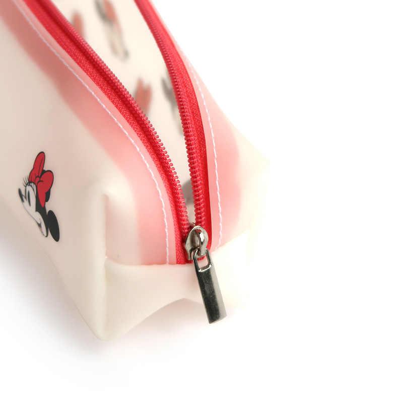 Disney Mickey Mouse Portabel Pena Pensil Kartun Tas Penyimpanan Tahan Air Anak Laki-laki dan Anak-anak Pelajar Hadiah