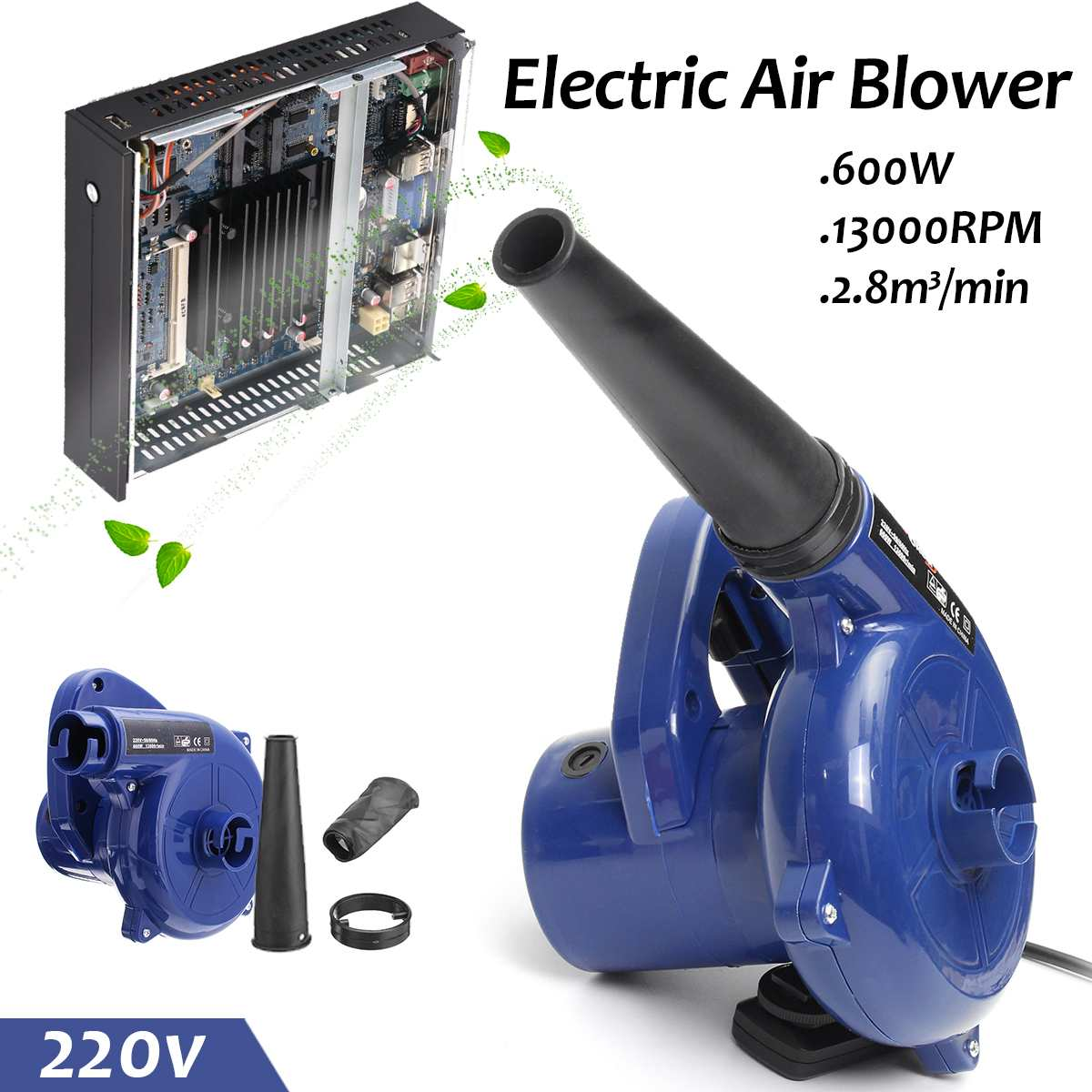 Vacuum Computer Cleaner Electric Industrial Air Blower Dust Blowing Dust Computer Dust Collector Air Blower 600W 220V Vacuum