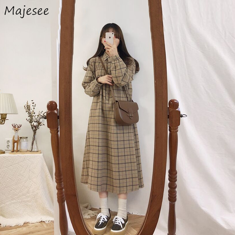 Long Sleeve Dress Women Plaid Vintage Korean Style Ulzzang Simple School Loose All-match Casual Streetwear Womens Fashion Daily