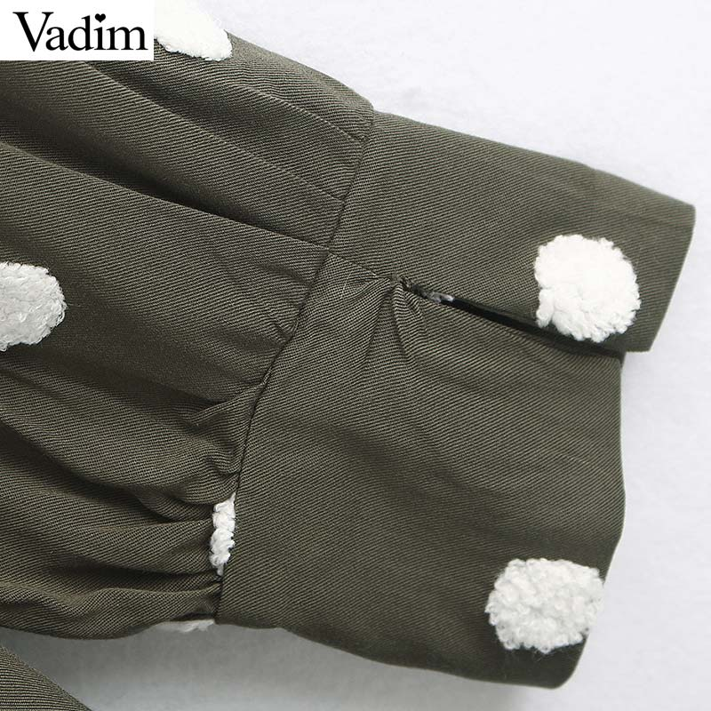 Image 4 - Vadim women elegant polka dots design mini dress V neck long sleeve female casual Straight style dresses vestidos QD044Dresses   -