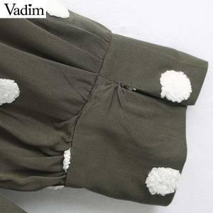 Image 4 - Vadim women elegant polka dots design mini dress V neck long sleeve female casual Straight style dresses vestidos QD044