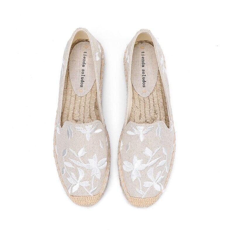 2020 Flat Platform Hemp Rushed Real Zapatillas Mujer Casual Sapatos Tienda Soludos Womens Espadrilles Flat Shoes Moccasins Work