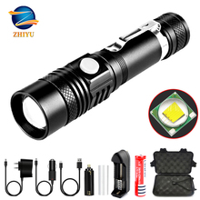 ZHIYU super bright led flashlight CREE T6 lamp beads usb charging Torch aluminum alloy durable material outdoor camping lamp