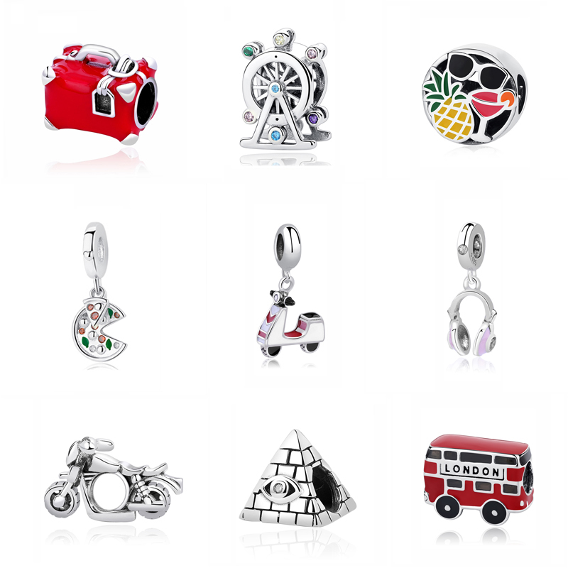 Original 100% 925 Sterling Silver Charm Bead Travel Bus Motorcycle Ferris Wheel Charms Fit Pandora Bracelets Women Diy Jewelry(China)