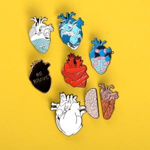 7pcs Heart pin Ocean Wave Bandage brave hearts enamel pins brooch for women men Punk Lapel pin badges organ Anatomy jewelry gift(China)