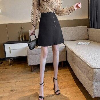 Mini falda de gasa negra para mujer para Primavera de cintura alta delgada falda de línea a para mujer falda de mujer 2020 faldas cortas de oficina para mujer