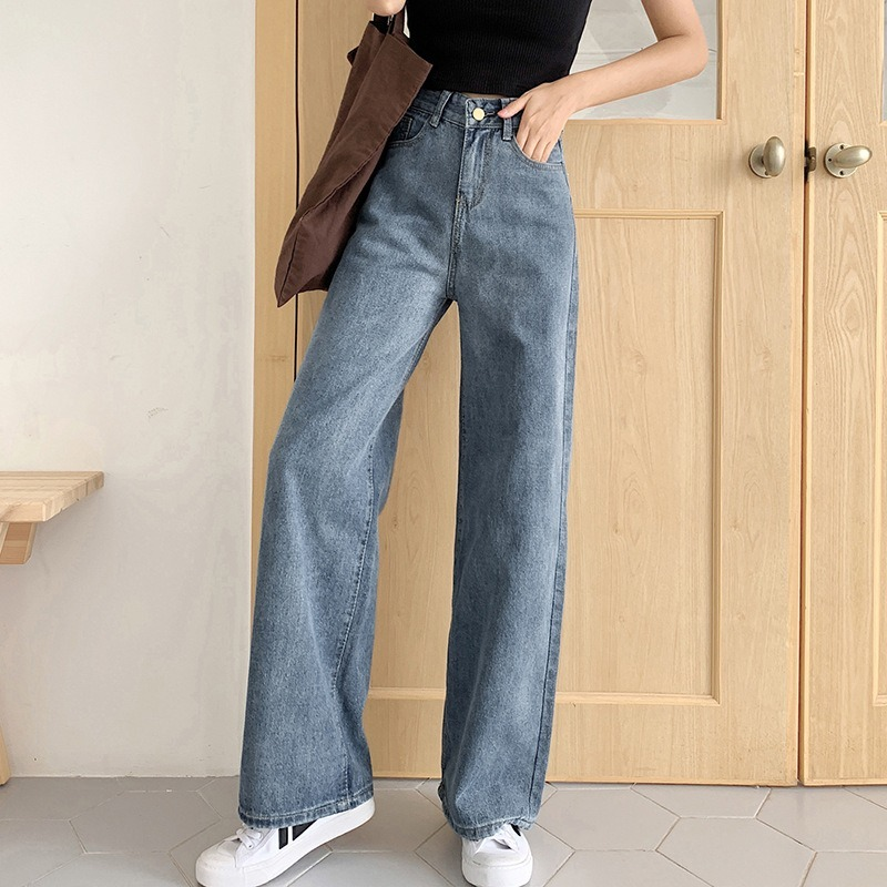 Sommerjeans Frauen Loose Thin Section Hohe Taille Gerade Breite Bein Hosen Do Old Washed Light Blue