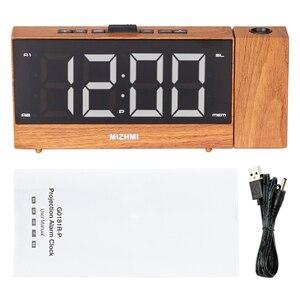 Image 5 - הקרנת רדיו שעון מעורר LED הדיגיטלי שולחן שולחן שעון נודניק פונקצית מתכוונן מקרן FM רדיו עם שינה טיימר