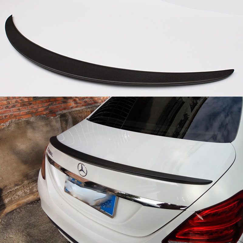 AMG style Matt black carbon fiber rear spoiler trunk wing for Benz C class 2015 2016 C180 C200 C220 C250 C300 4door|trunk wing|carbon fiber rear spoiler|rear spoiler - title=