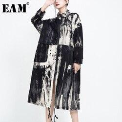 Женский Длинный Тренч с принтом EAM, ветровка с длинным рукавом и стоячим воротником, Весенняя мода 2020 1U803