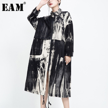 [EAM] Women Pattern Printed Big Size Long Trench New Stand Collar Long Sleeve Lo