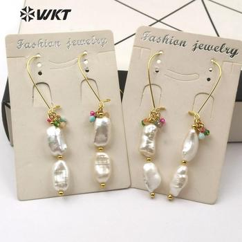 WT-E578 Natural Freshwater Pearl  Earrings Double Pearl With Colorful Stone Beads Earring  Gold Electroplated Bead Drop Earring