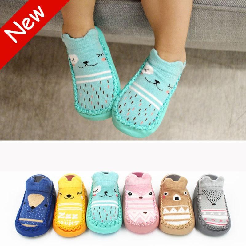 New Fashion Baby Socks With Rubber Soles Infant Sock Newborn Autumn Winter Children Floor Socks Shoes Anti Slip Soft Sole Sock
