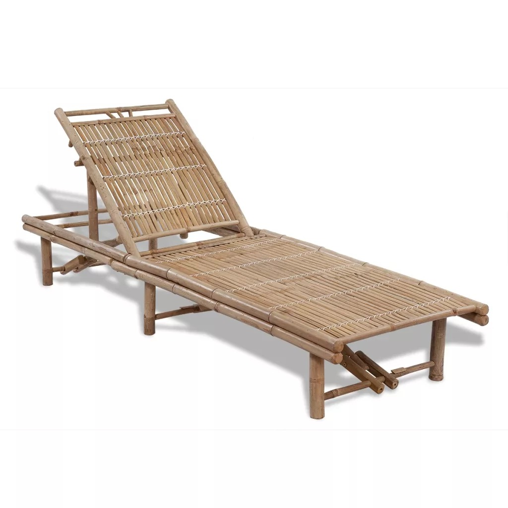 VidaXL Folding Adjustable Sun Lounger Daybed Patio Chaise Lounge Chair Outdoor Beach Garden Yard Recliner Bamboo Furniture