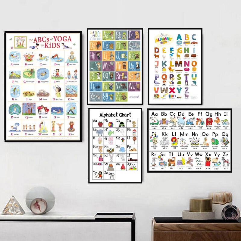 Canvas Print Home Decor Painting Wall Art Alphabet Chart Pictures Modular Education English Learning Nordic Poster For Kids Room