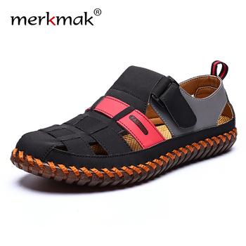 Merkmak męskie skórzane sandały na zewnątrz 2020 letnie ręcznie męskie buty męskie oddychające buty na co dzień obuwie spacerowe sandały tanie i dobre opinie Prawdziwej skóry Skóra bydlęca Podstawowe NONE LEISURE RUBBER Hook loop Niska (1 cm-3 cm) Fabric Pasuje prawda na wymiar weź swój normalny rozmiar