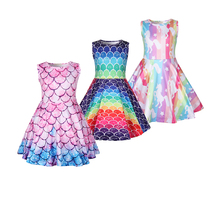 Baby girl clothes unicorn dress kids rainbow printed for Girls Halloween costume cosplay Party 1222