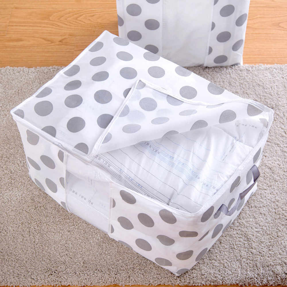 접이식 광장 꽃 인쇄 이불 보관 가방 의류 담요 퀼트 옷장 스웨터 주최자 상자 투명 주머니 컨테이너