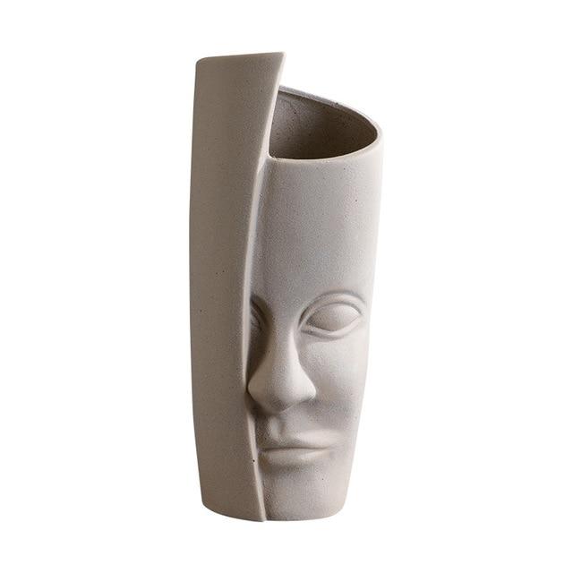 Nordic Ceramic Art Vase Sculpture Crafts Human Face Family Flower Pot Handmade Garden Storage Flower Arrangement Home Decors 6