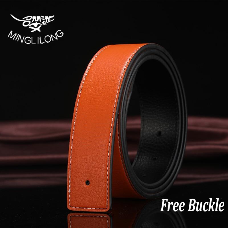 MINGLILONG New Belts For Men Belt Brand Cow Skin Leather Belt Business Men Belts Gold Silver Buckle Men Male Belt