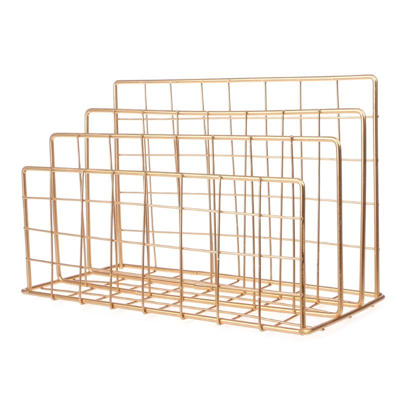Grid Wrought Iron Desktop Storage Rack Bookshelf Magazine File Organizer Holder