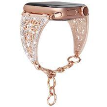 Роскошный блестящий алмазный женский браслет для apple watch