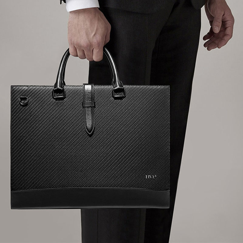 BVP Brand Genuine Leather Men Briefcase High Quality Man 14 Inch Laptop Briefcase Bag Male Document Case Woven Shoulder Bag J45