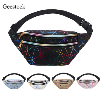 Geestock Holographic Waist Bags for Women Banana Female Fanny Pack Hip Belt Bag Geometric Fashion Packs Chest