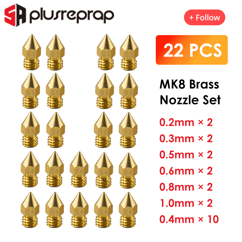 22PCS MK8 Nozzle Head Printer Extruder for1.75mm A8 Makerbot MK8 Creality CR-10 Ender 3 Nozzle Optio