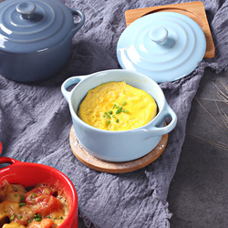 Double Ear Covered Baking Bowl Cake Bowl Children's Rice Bowl Soup Pot Soup Bowl Stew Cup Breakfast Steamed Egg Pudding Bowl