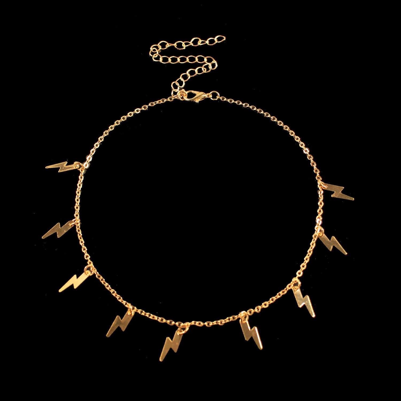 Jcymong Hàng Mới Về Ánh Sáng Mặt Dây Chuyền Vòng Đeo Cổ Cho Nữ Vàng Bạc Màu Sắc Liên Kết Xương Đòn Dây Chuyền 2020 Ngắn Vòng Cổ Choker