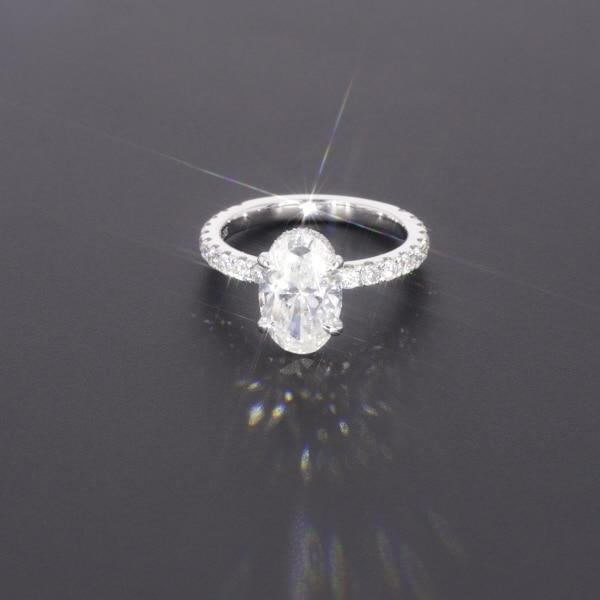 Starszuan תכשיט 14K DEF סגלגל לחתוך 8*10mm 3ct moissanite מבחן חיובי VVS מפואר אירוסין טבעת עבור אישה