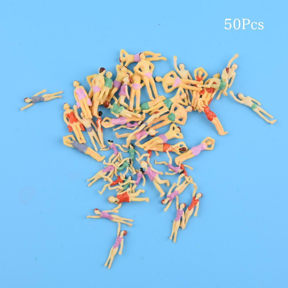 50pcs N Scale 1:150 Different Poses Painted swimming people Figures for Model Train layout Beach people image