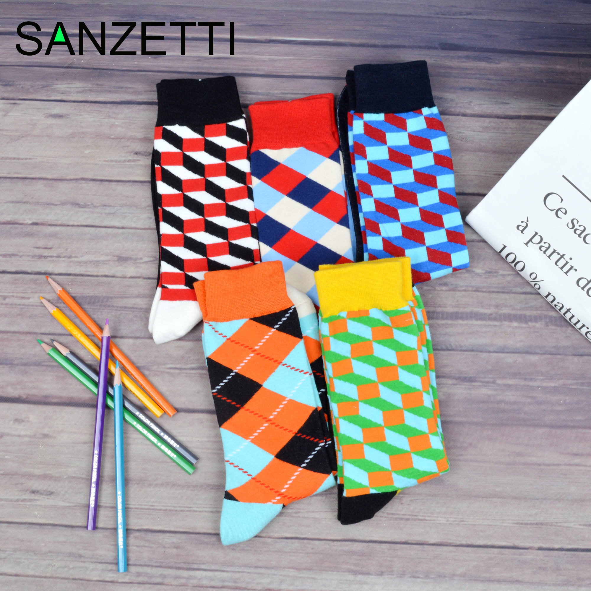 SANZETTI  Men's Casual Combed Cotton Happy Crew Socks Personality Geometric Funny Dot Fashion Wedding Gifts Creative Dress Socks