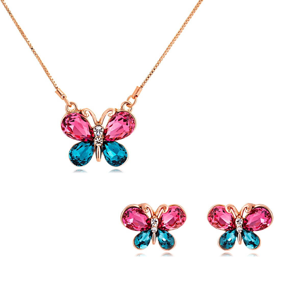 Jewelry-Gift-Set Viennois Necklace Drop-Earrings-Set Crystal Butterfly Alloy Bela Western-Style