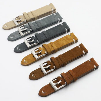 Onthelavel Quality Suede Leather Velour Gray Watch Strap 18 20 22mm Replacement Band Watch Accessories Stainless Steel Buckle #E handmade leather comfort gray suede strap 18mm 20mm 22mm stainless steel buckle high quality red blue line 2018 new
