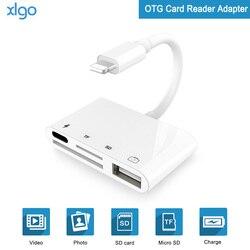4 En 1 SD TF tarjeta Cámara kits de conexión para Lightning a USB Cámara lector adaptador OTG Cable para iphone X 8 8pls 7 para ipad Air