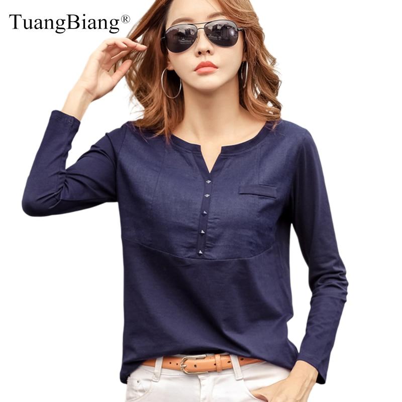 Outono feminino 2021 slub algodão com decote em v manga longa camiseta feminina gem botões azul marinho topos moda costura rosa laranja t camisa