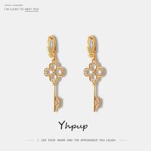 Yhpup Trendy Vintage Hollow Geometric Key Dangle Earrings Copper Zirconia Statement Jewelry pendientes mujer moda 2019