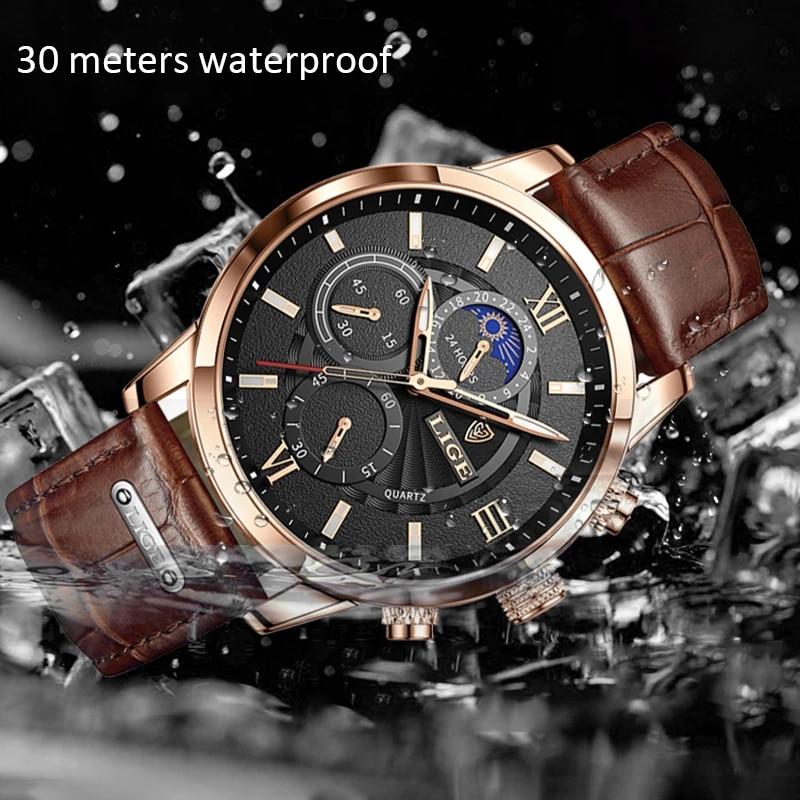 2021 LIGE Men's Watches Top Brand Luxury Men Wrist Watch Leather Quartz Watch Sports Waterproof Male Clock Relogio Masculino+Box 3
