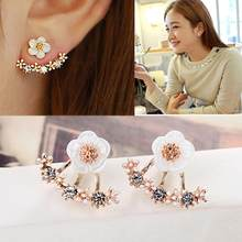 Cute Daisys Flower Shiny Rhinestone Ear Jacket Stud Earrings Women Girl Wedding Jewelry Wholesale(China)