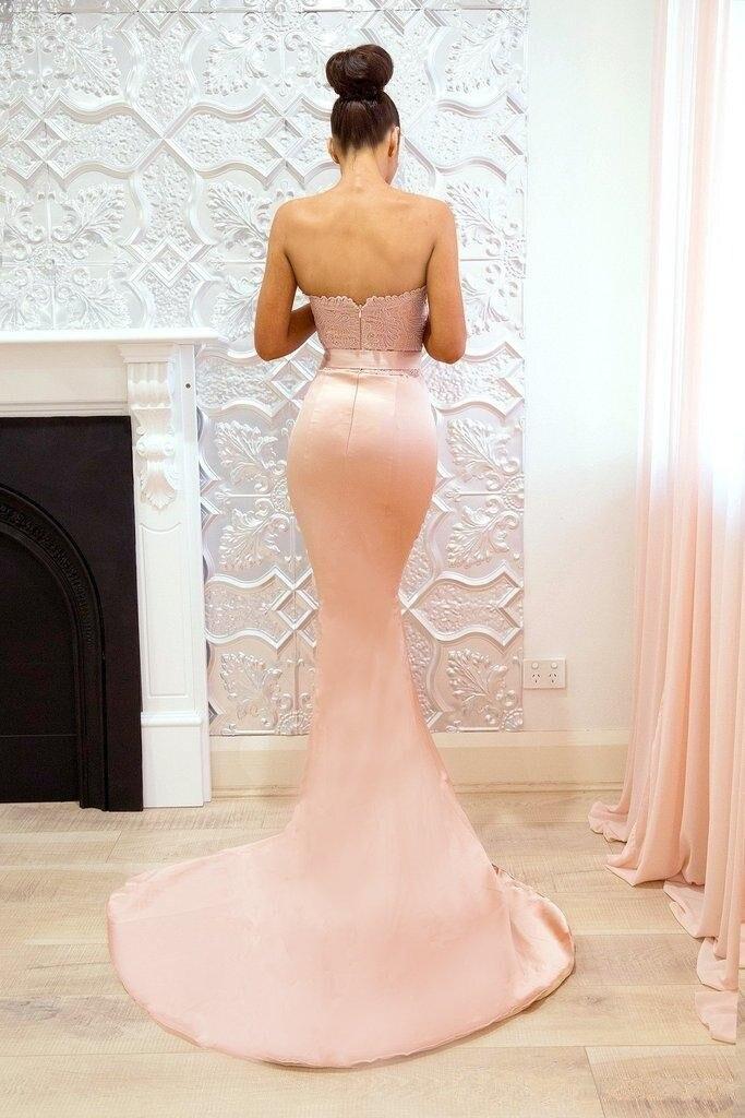 Peach Pink Lace Mermaid Prom Dresses Sweetheart Applique Formal Dresses Evening Gowns Vestidos de fiesta largos Custom Made