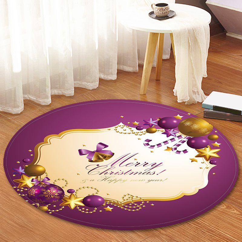 120cm maison bande dessinée paillasson tapis Hall tapis bébé activité tapis de jeu impression de noël tapis rond imperméable fournitures pour la maison