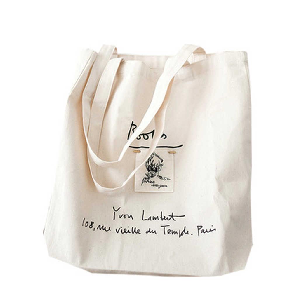 Nuevo bolso de compras de moda para mujer, bolso de compras con letras de lona, bolsos de playa, bolsos escolares para niñas