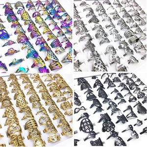Image 1 - MixMax 50pcs Mix Styles Punk Laser Cut Design Stainless Steel Rings for Men Women Wholesale Gold Black Multicolor Silver Color