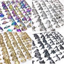 MixMax 50pcs לערבב סגנונות פאנק לייזר לחתוך עיצוב נירוסטה טבעות גברים נשים סיטונאי זהב שחור צבעים כסף צבע