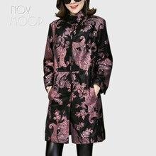 Novmoop ofis bayan artı boyutu hakiki deri ceket kadın koyun derisi ceket rüzgarlık üstleri chaqueta mujer cuero genuino LT2845