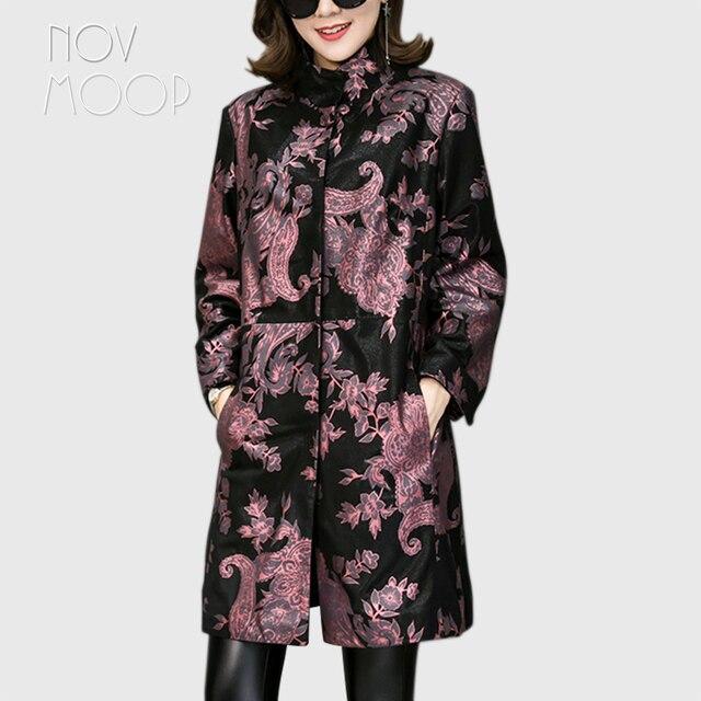 Novmoop مكتب سيدة حجم كبير سترة جلد طبيعي النساء جلد الغنم معطف سترة واقية القمم chaqueta mujer cuero genuino LT2845