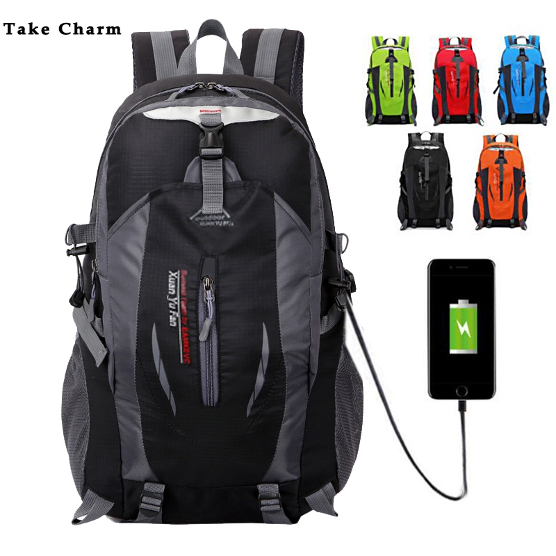 2019 Medium Capacity Men Women Travel Backpack High Quality Nylon Waterproof Sport Mountaineering Bag With USB Charging