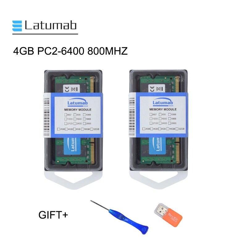 Latumab PC2 4GB GB DDR2 8 800mhz 6400 Memória Portátil SoDimm Memória Ram 200 Pinos Notebook de Alta Qualidade módulo de RAM SODIMM 1.8V
